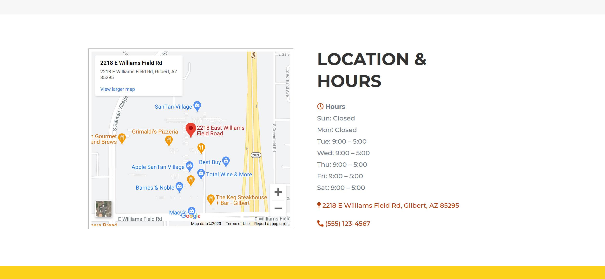 Website for Hairdressers v1 - Map, Location & Hours