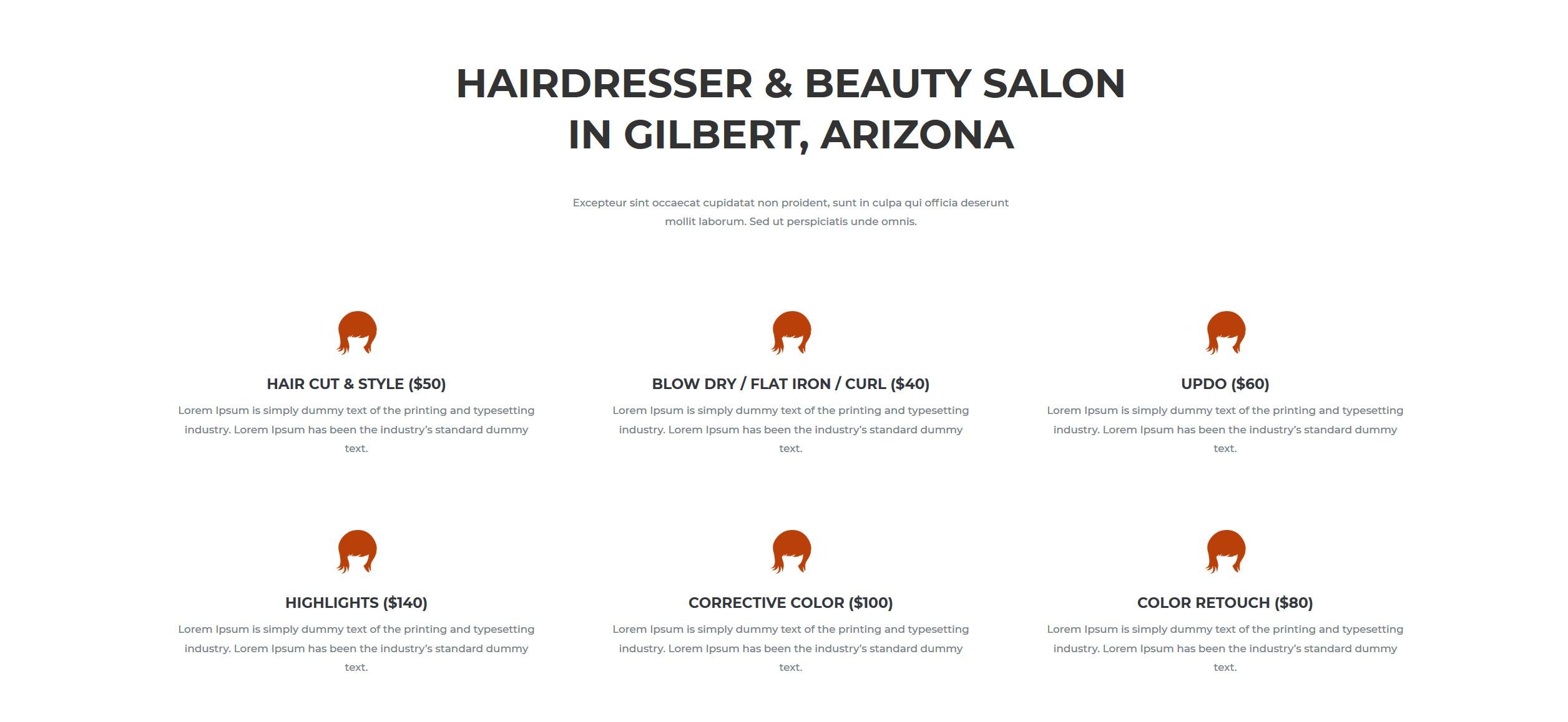 Website for Hairdressers v1 - Services