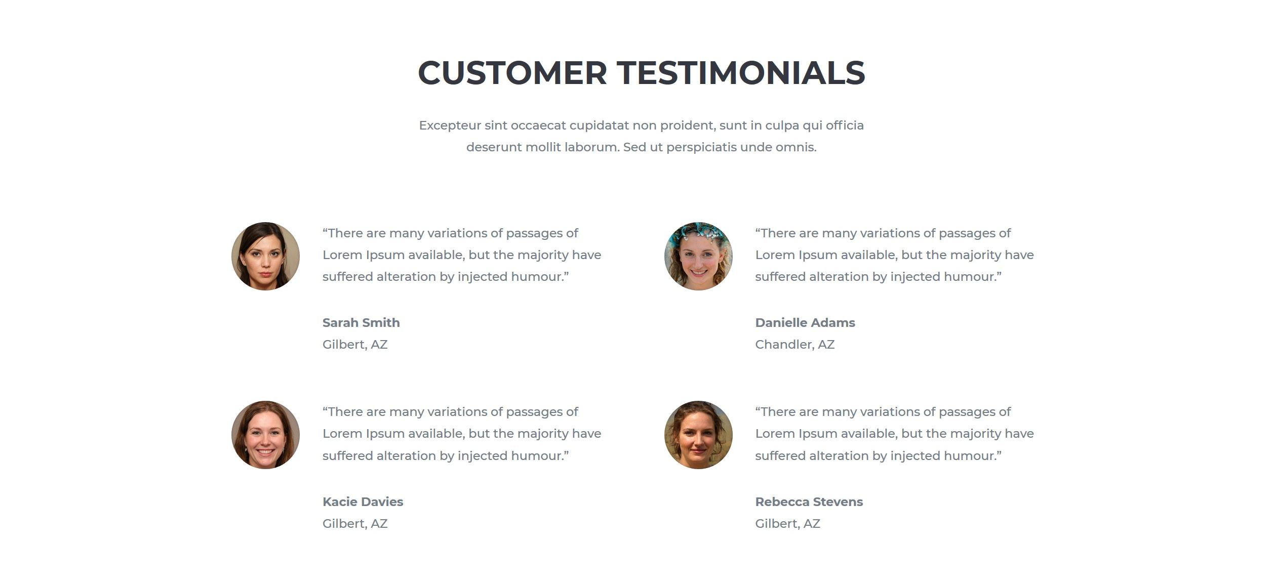Website for Hairdressers v1 - Testimonials