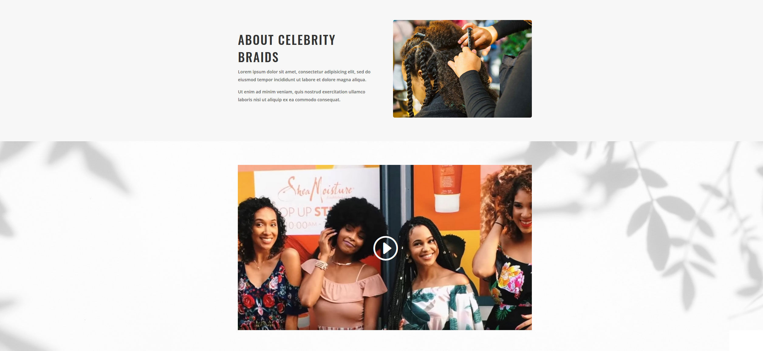 Website for Hair Braiding v1 - About Info & Video