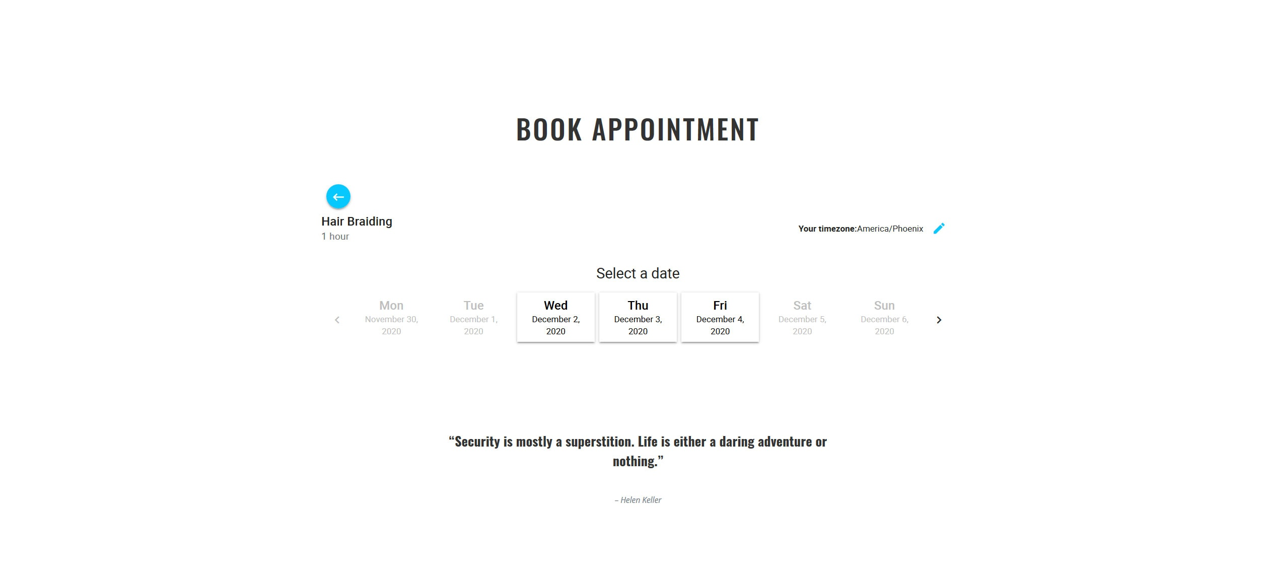 Website for Hair Braiding v1 - Appointment Scheduler & Quote