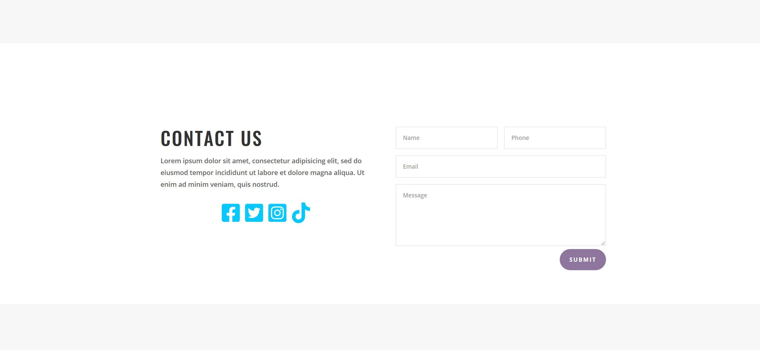 Website for Hair Braiding v1 - Contact Form & Social Media Links
