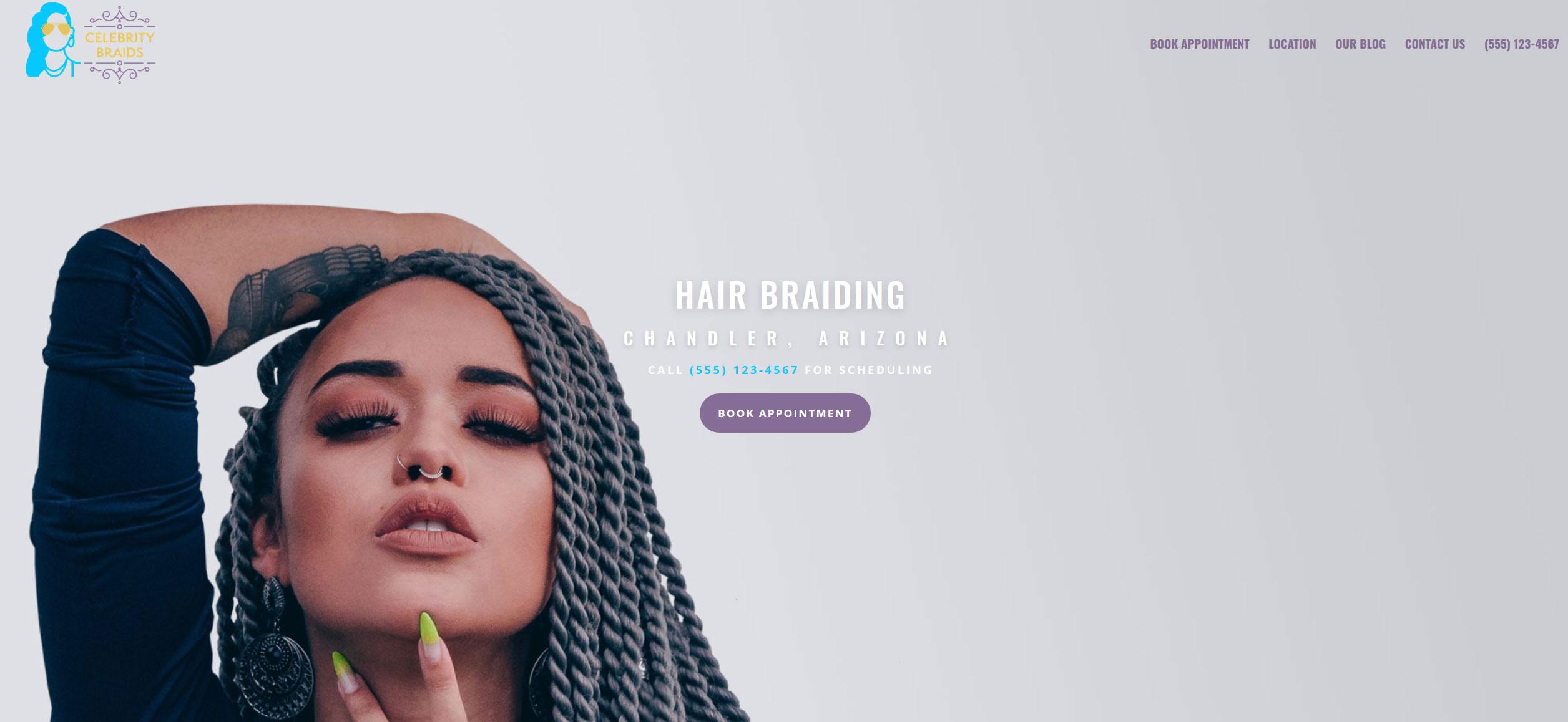 Website for Hair Braiding v1 - Home Hero Slide