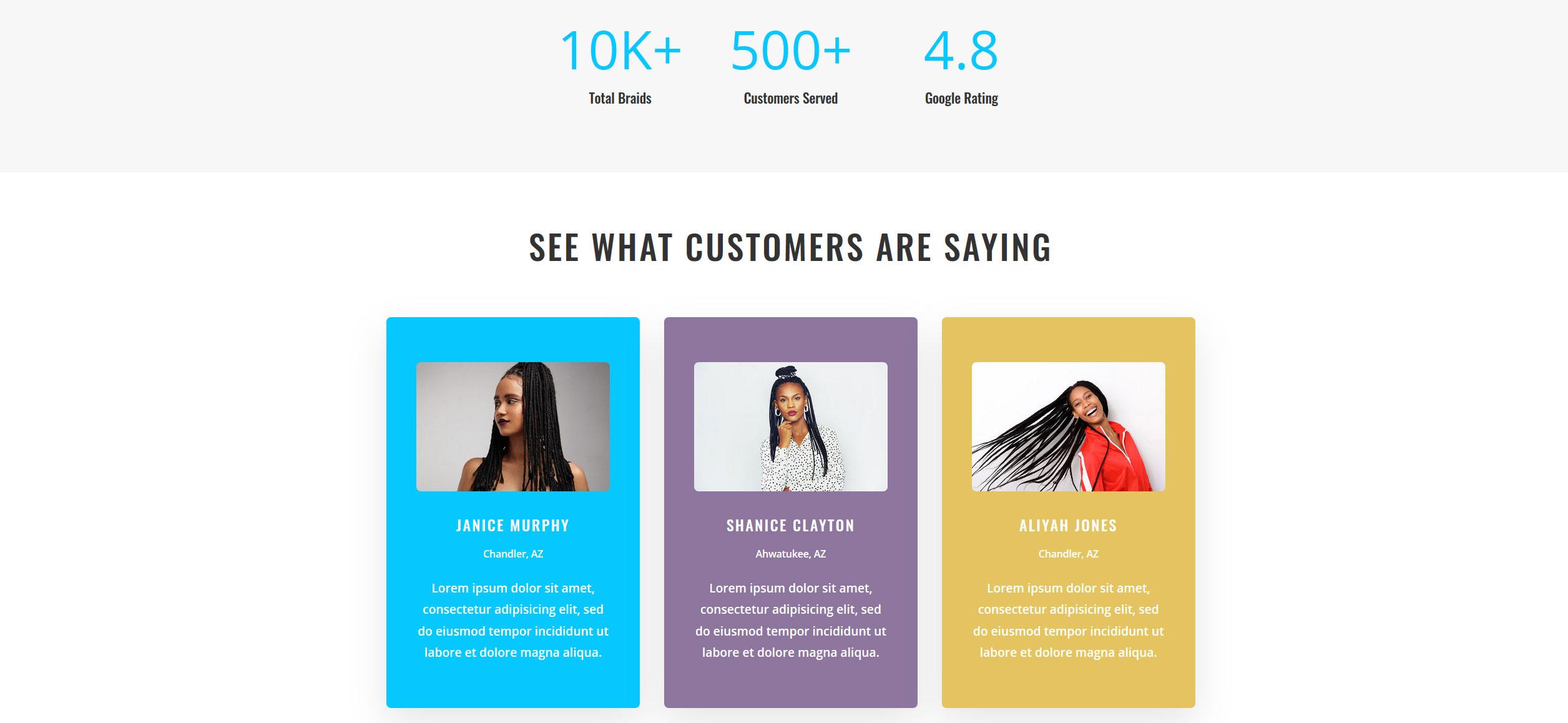Website for Hair Braiding v1 - Statistics & Testimonials