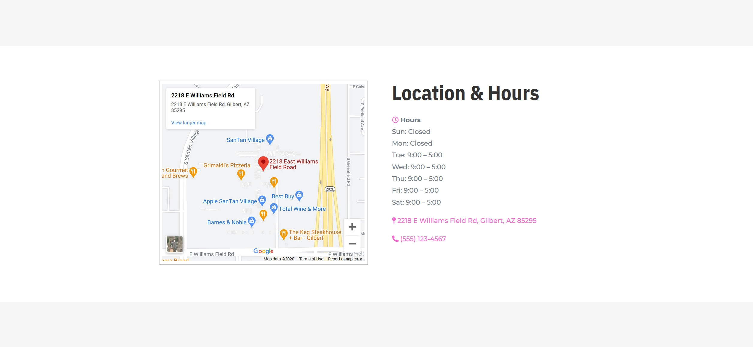 Website for Nail Salons v1 - Location Map & Hours
